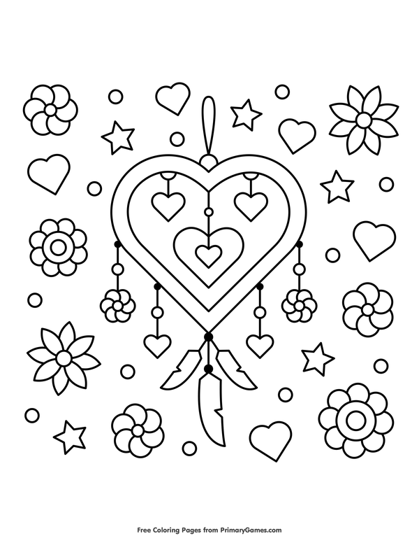heart dream catcher coloring pages heart coloring pages coloringrocks dream catcher pages coloring heart
