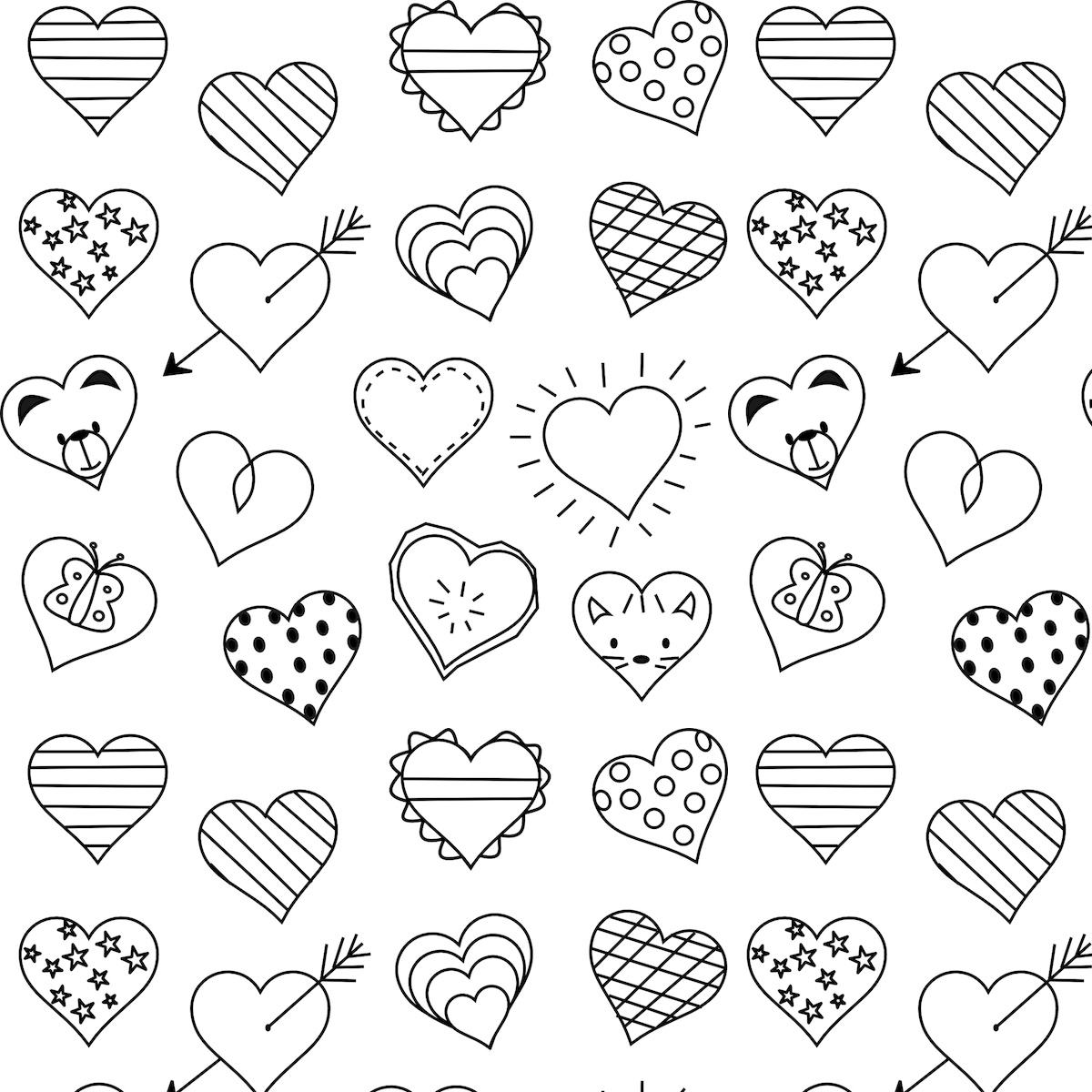 hearts coloring page easy heart coloring pages for kids stripe patterns coloring hearts page