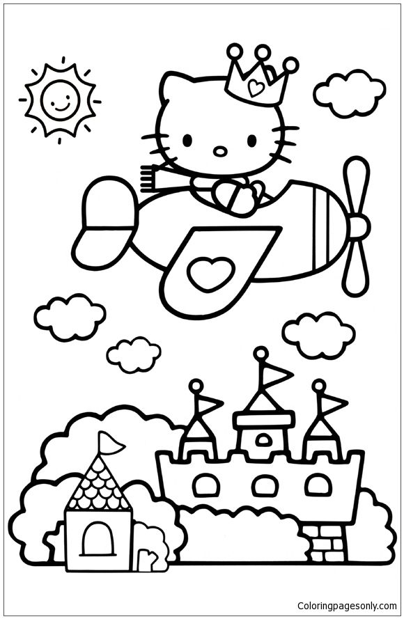 hello kitty airplane coloring page airplane color page clouds see the category to find more coloring airplane kitty hello page