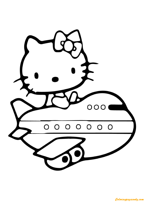hello kitty airplane coloring page hello kitty in airplane coloring pages hellokidscom hello airplane page kitty coloring