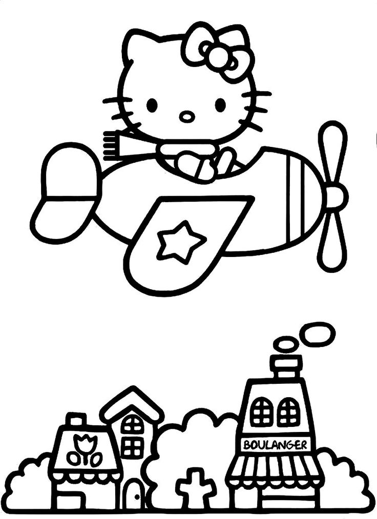 hello kitty airplane coloring page hello kitty on airplane coloring pages for kids coloring airplane kitty page hello