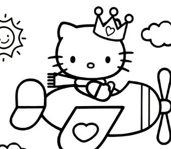 hello kitty airplane coloring page hello kitty plane and birds birthday coloring pages printable kitty airplane coloring page hello