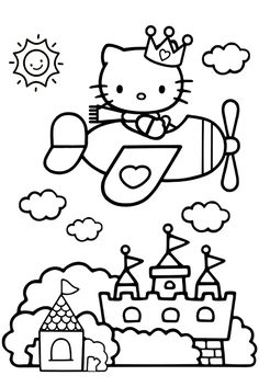 hello kitty airplane coloring page plane coloring pages hello kitty in 2020 airplane hello airplane coloring kitty page