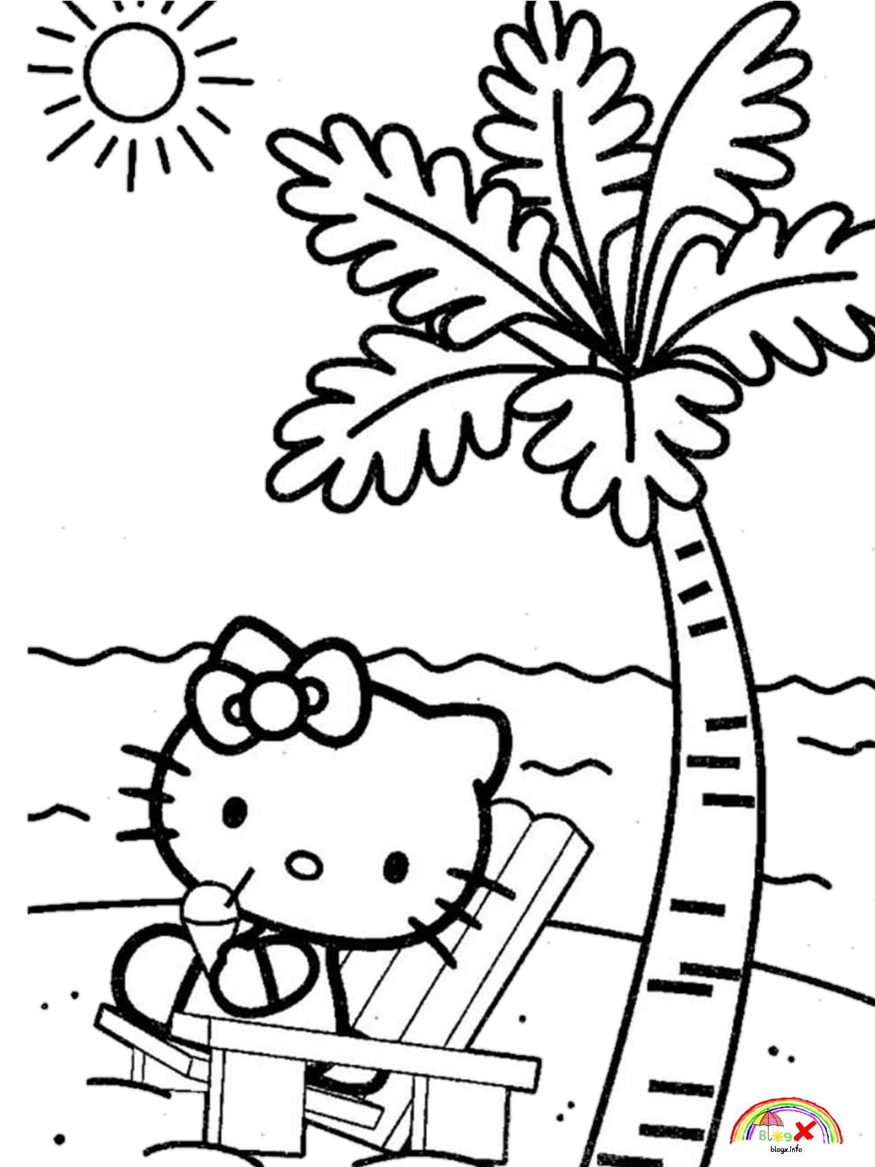 hello kitty beach coloring pages cute hello kitty on the beach coloring page hello kitty pages beach hello coloring kitty