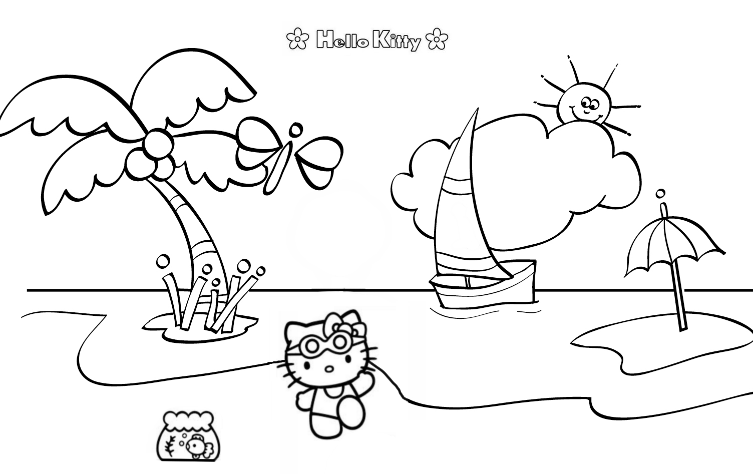 hello kitty beach coloring pages hello kitty at the beach coloring pages for kidsfree beach coloring hello kitty pages