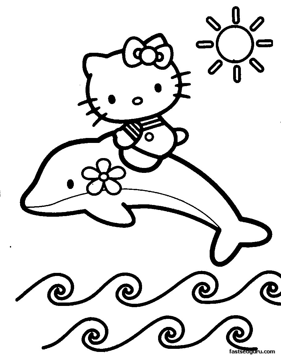 hello kitty dolphin coloring pages print hello kitty little mermaid coloring page or download dolphin hello pages kitty coloring