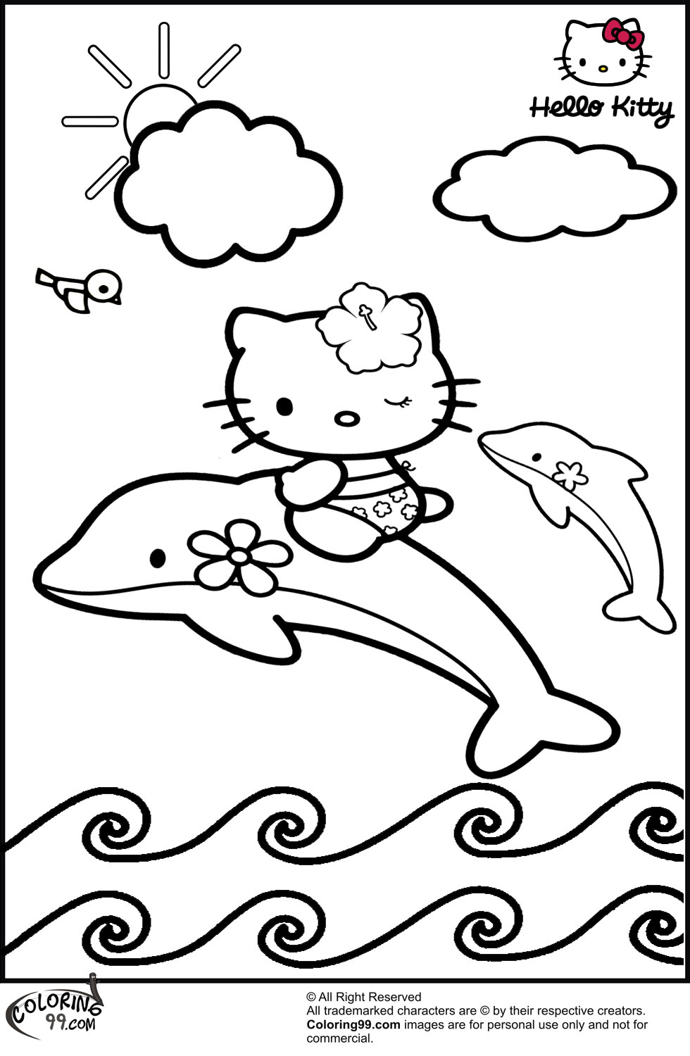 hello kitty dolphin coloring pages print out coloring pages of dolphin with hello kitty coloring kitty dolphin pages hello