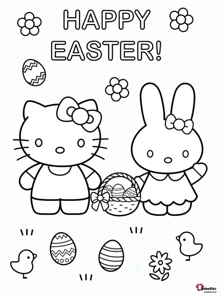 hello kitty easter coloring pages happy easter hello kitty and easter bunny easter eggs coloring kitty easter pages hello