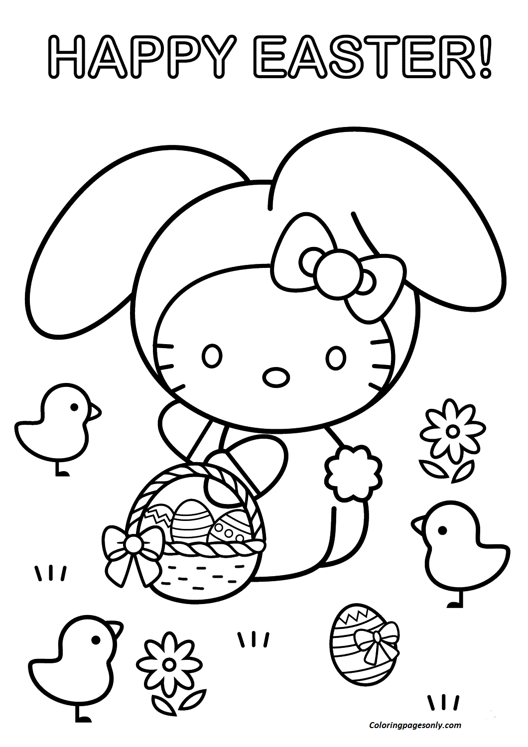 hello kitty easter coloring pages hello kitty easter coloring pages to download and print coloring easter kitty pages hello