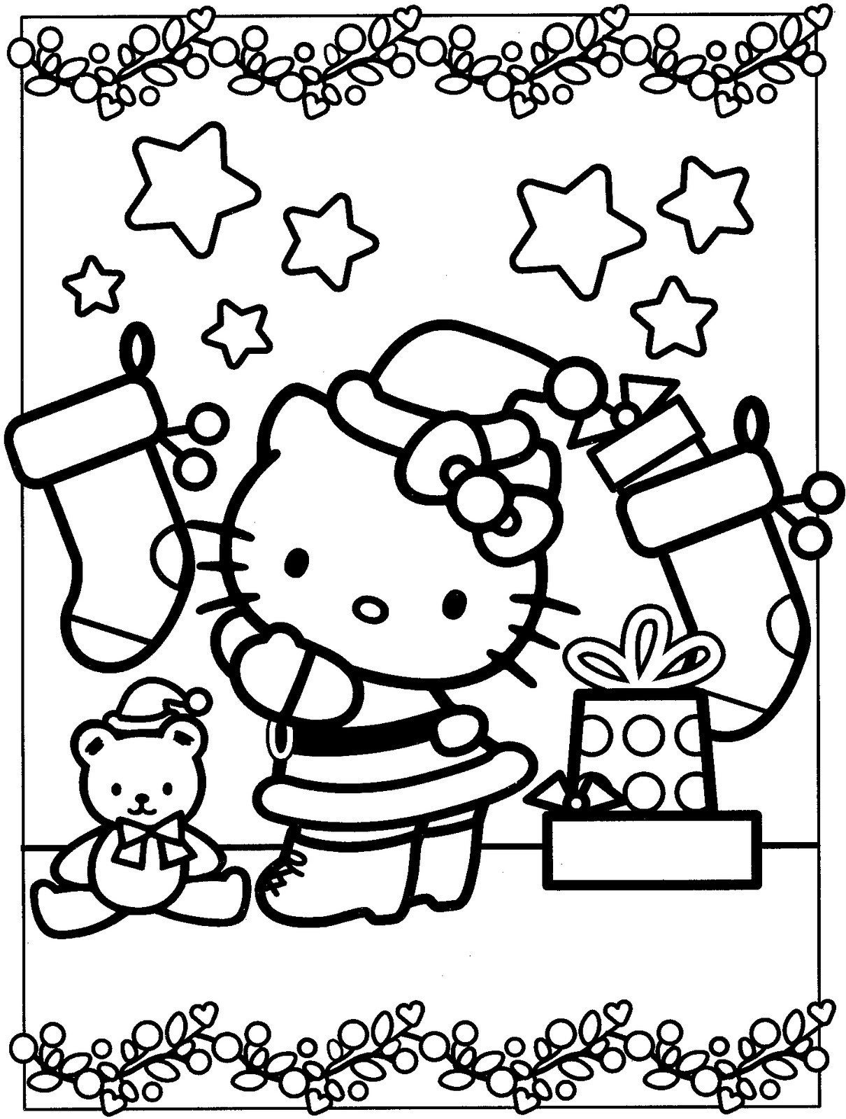 hello kitty holiday coloring pages hello kitty christmas coloring pages cute 101 worksheets kitty holiday hello pages coloring