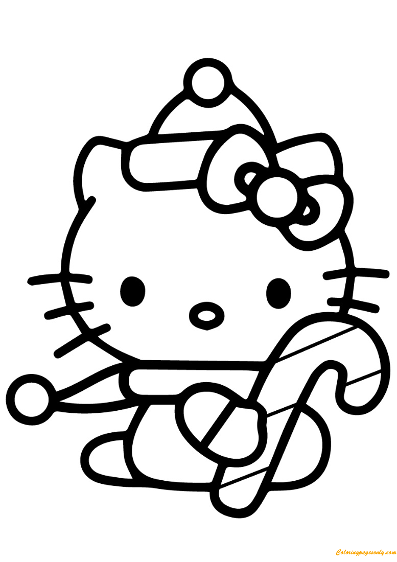 hello kitty holiday coloring pages hello kitty with christmas candy cane coloring page free hello pages holiday coloring kitty