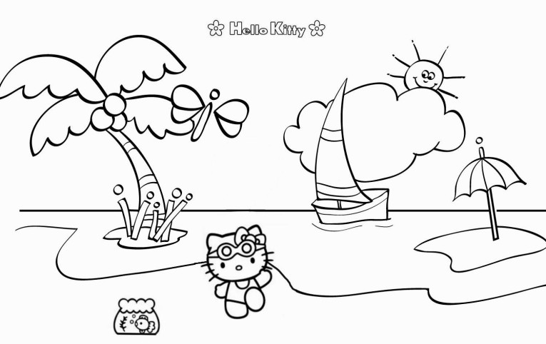 hello kitty summer coloring pages hello kitty summer coloring page free printable coloring hello pages coloring summer kitty