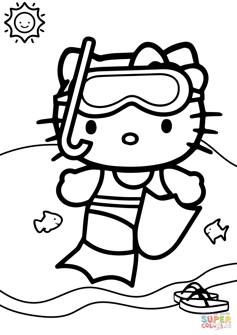 hello kitty summer coloring pages hello kitty summer coloring pages at getdrawings free coloring kitty hello summer pages
