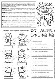 hello kitty worksheets printable hello kittys family editable esl worksheet by ladydeath worksheets printable kitty hello
