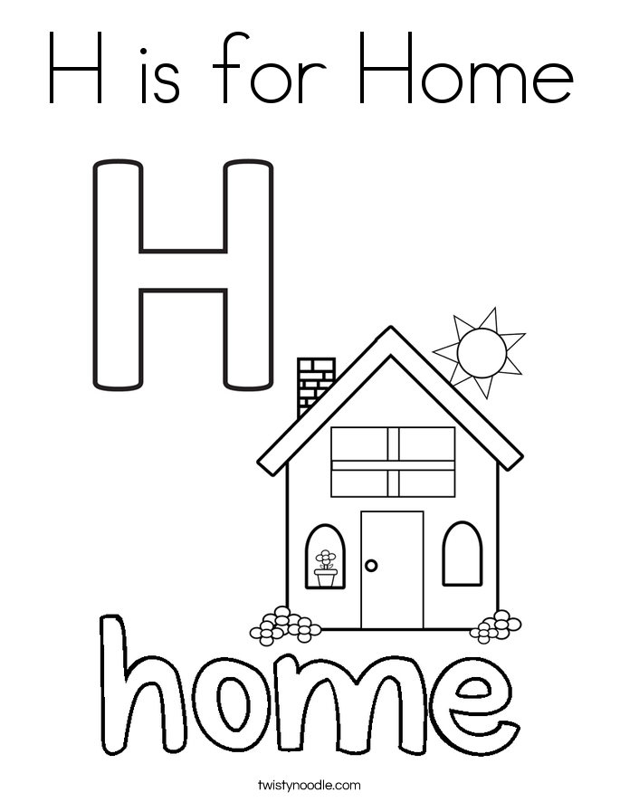 home coloring image h is for home coloring page twisty noodle coloring image home