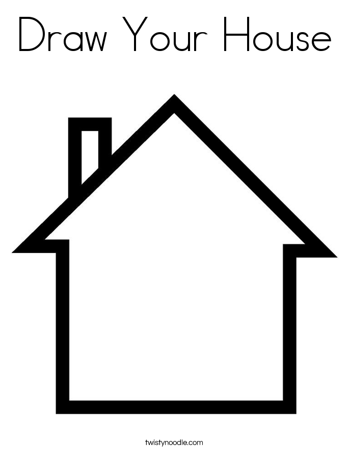 home coloring image outline of house clipartsco coloring image home