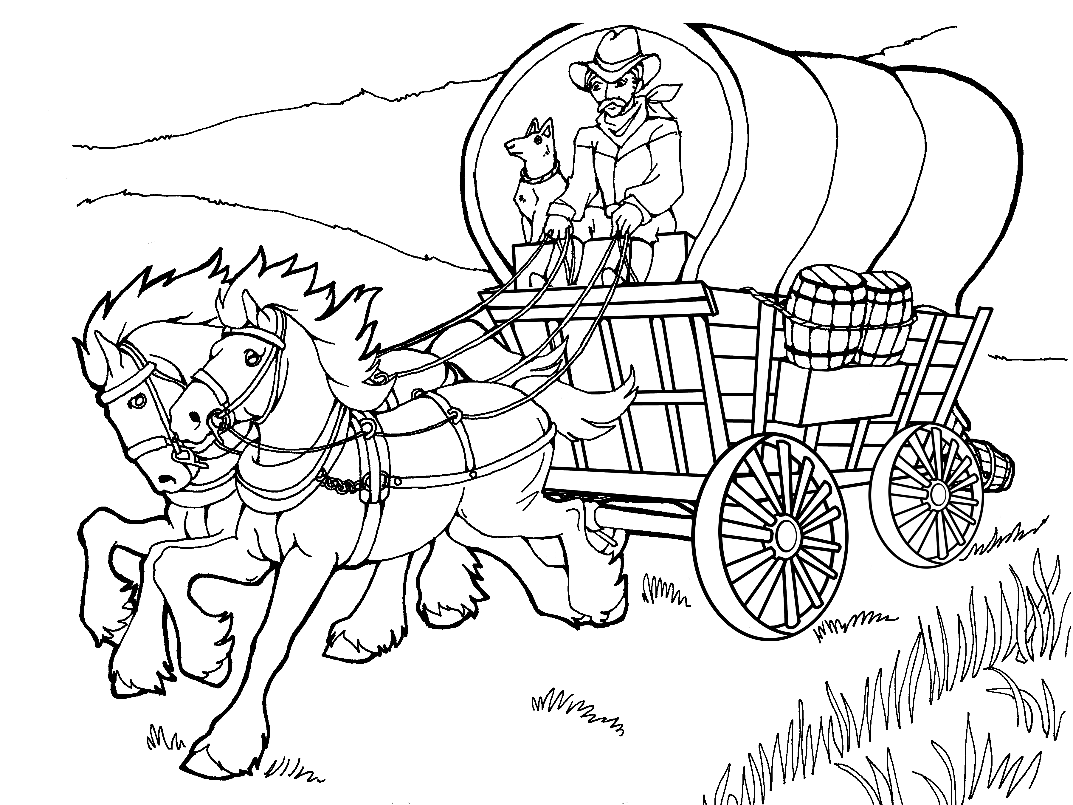 horse and carriage coloring pages with horse and wagon clipart clipground horse pages carriage and coloring