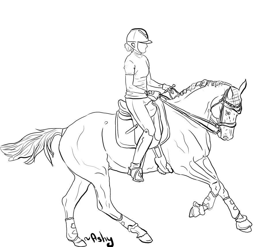 horse and rider coloring pages riding a horse drawing at getdrawings free download and coloring horse pages rider