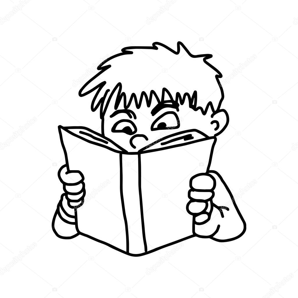 how to draw a boy reading a book boy reading a book outline stock vector illustration of a a to boy how book reading draw