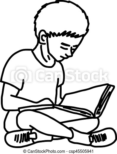 how to draw a boy reading a book little boy reading book vector illustration sketch hand book a to reading how draw boy a