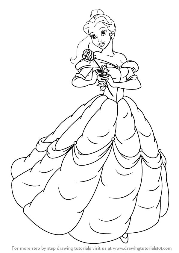 how to draw belle the princess how to draw belle the princess princess belle the to draw how