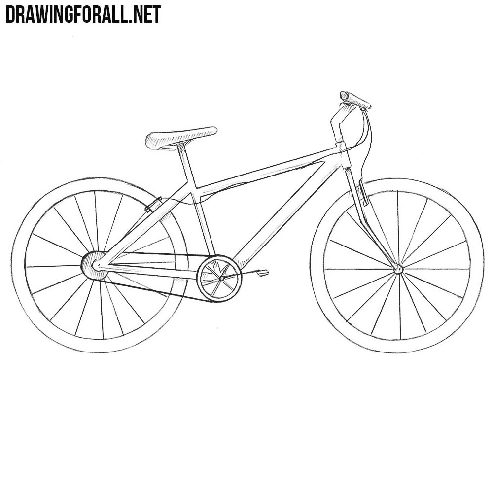 how to draw bicycle easy bicycle drawing at getdrawingscom free for how draw to bicycle