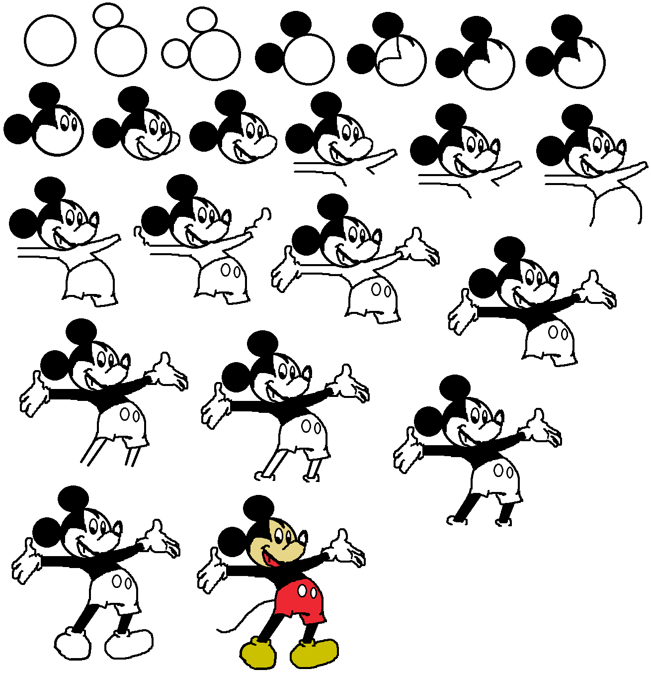 how to draw characters step by step drawing mickey mouse how by step draw characters to step