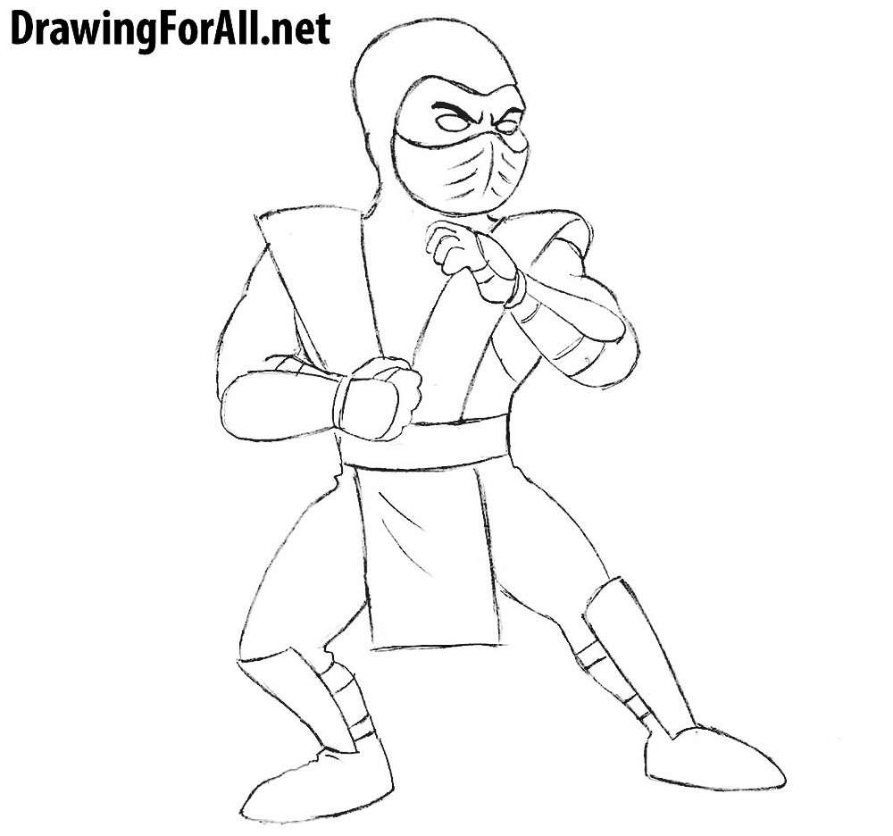 how to draw charecters how to draw cartoon sub zero drawingforallnet to charecters draw how