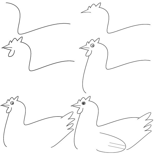 how to draw hen step by step how to draw chickens hens with easy step by step drawing to how draw hen by step step