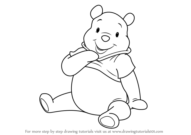 how to draw pooh bear winnie the pooh with smile coloring page free printable how pooh bear to draw