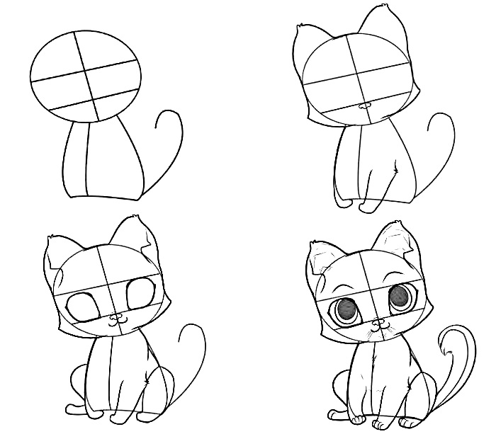 how to draw step by step how to draw anime cat 10 step by step drawing step to step draw by how