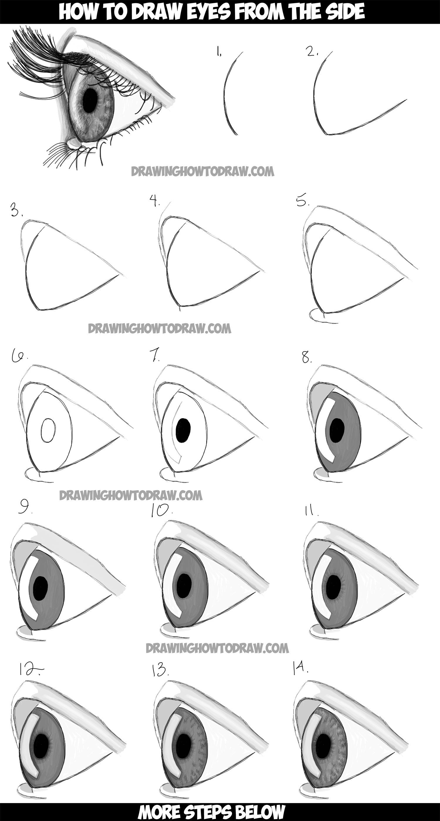 how to draw step by step how to draw realistic eyes from the side profile view how draw step to step by
