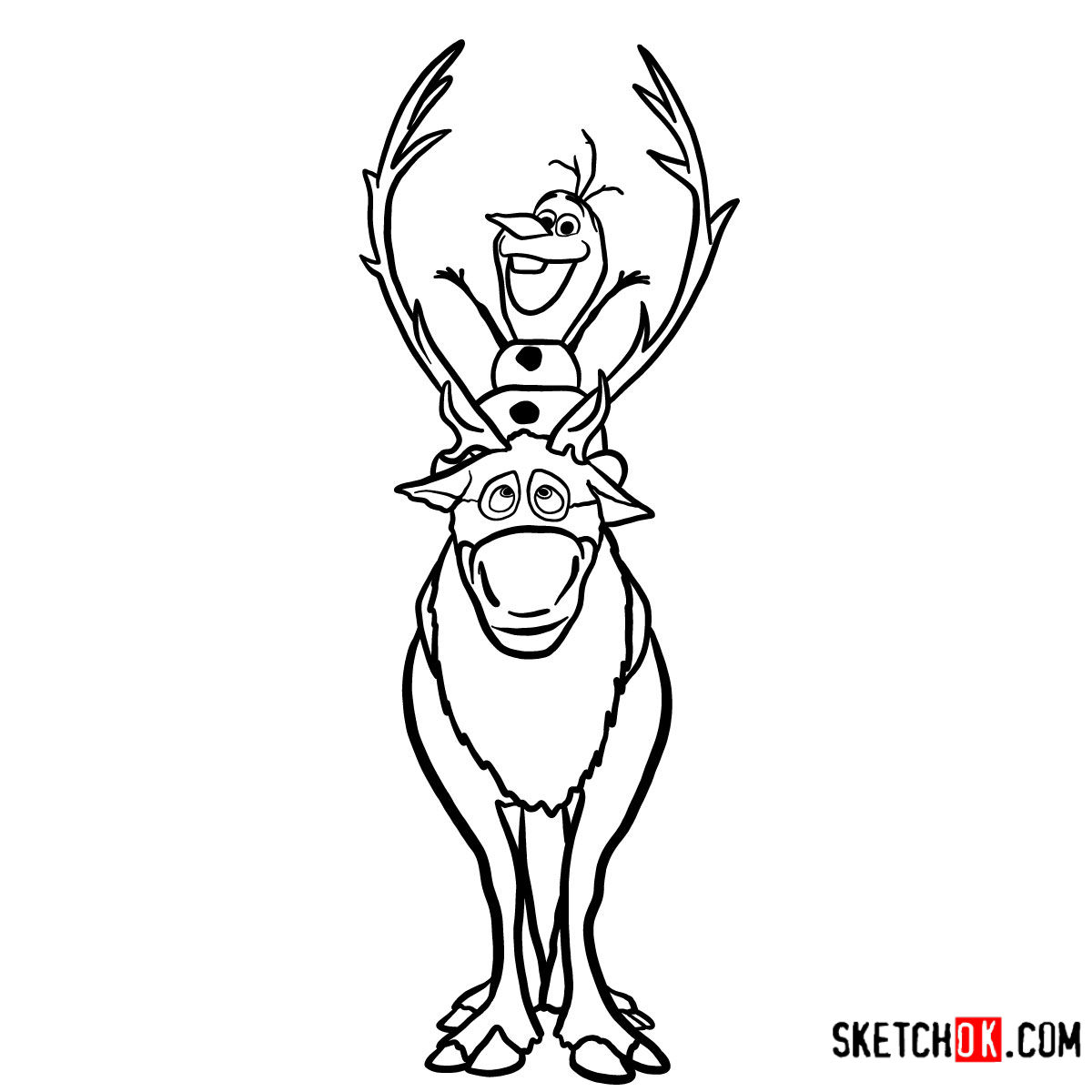 how to draw sven from frozen how to draw olaf riding sven frozen sketchok step by how sven frozen draw to from