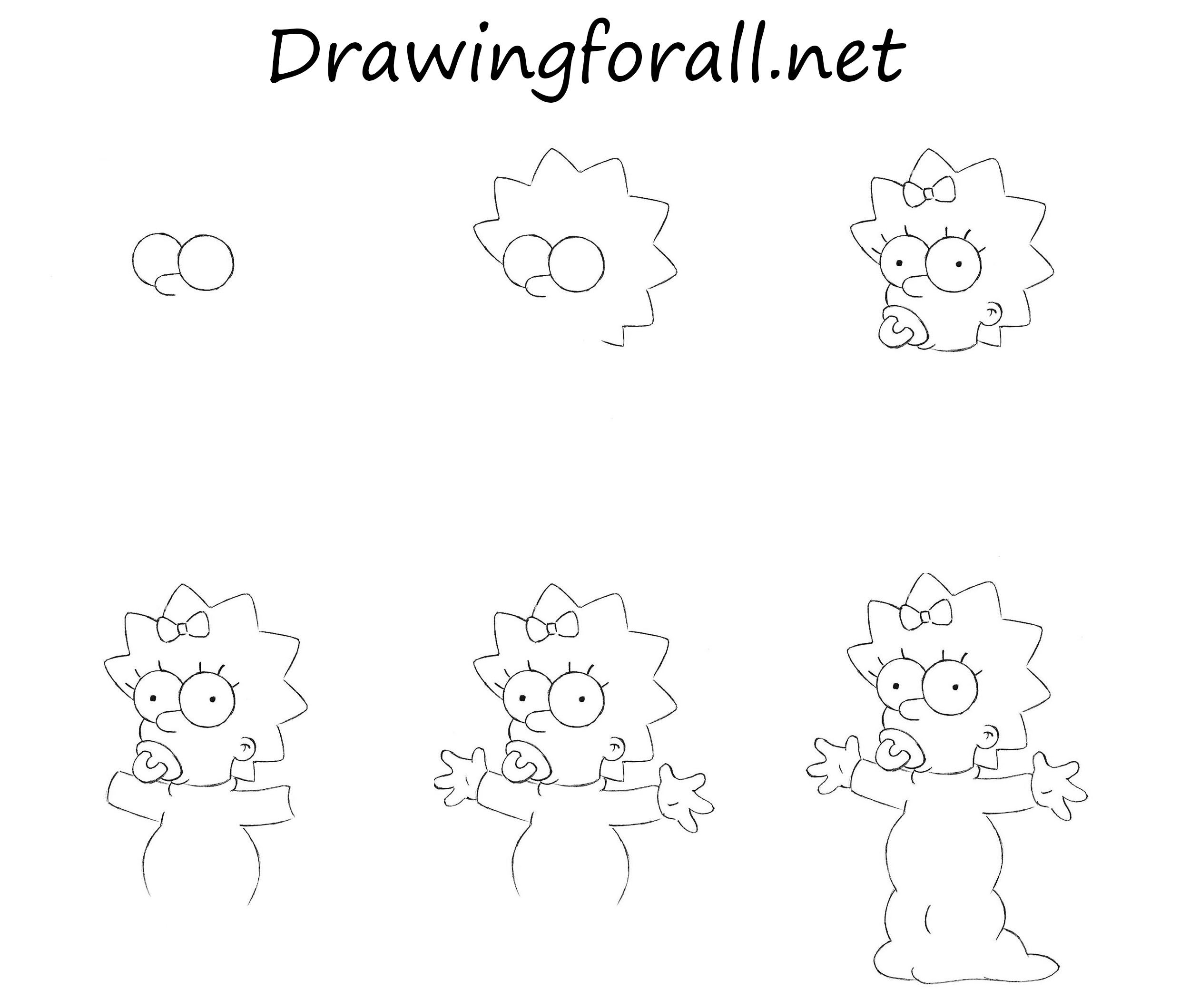how to draw the simpsons how to draw maggie simpson simpsons drawings maggie the draw to how simpsons
