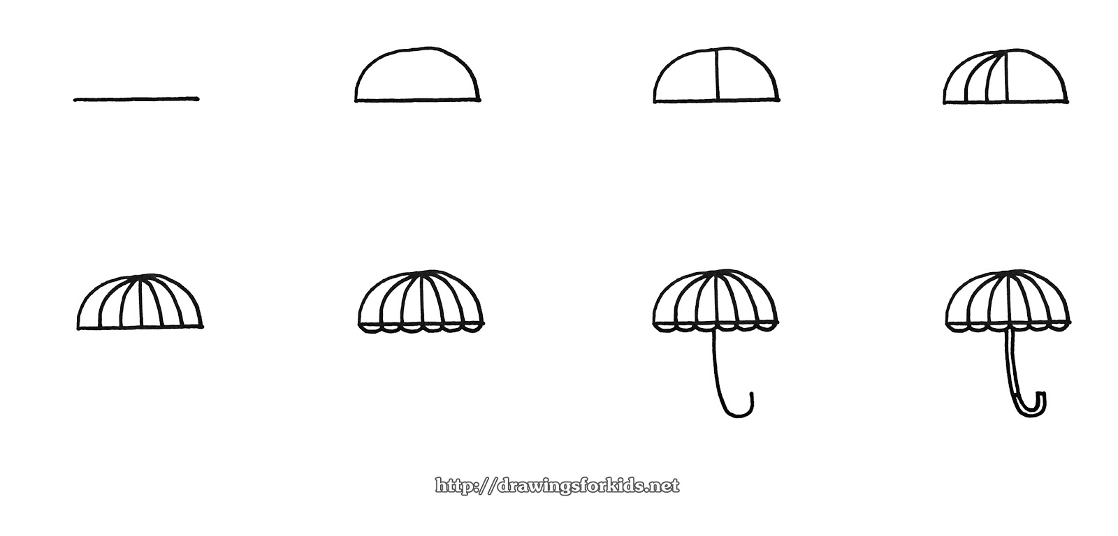 how to draw umbrella step by step how to draw umbrella for kids slide 2 click to enlarge umbrella by to step how draw step