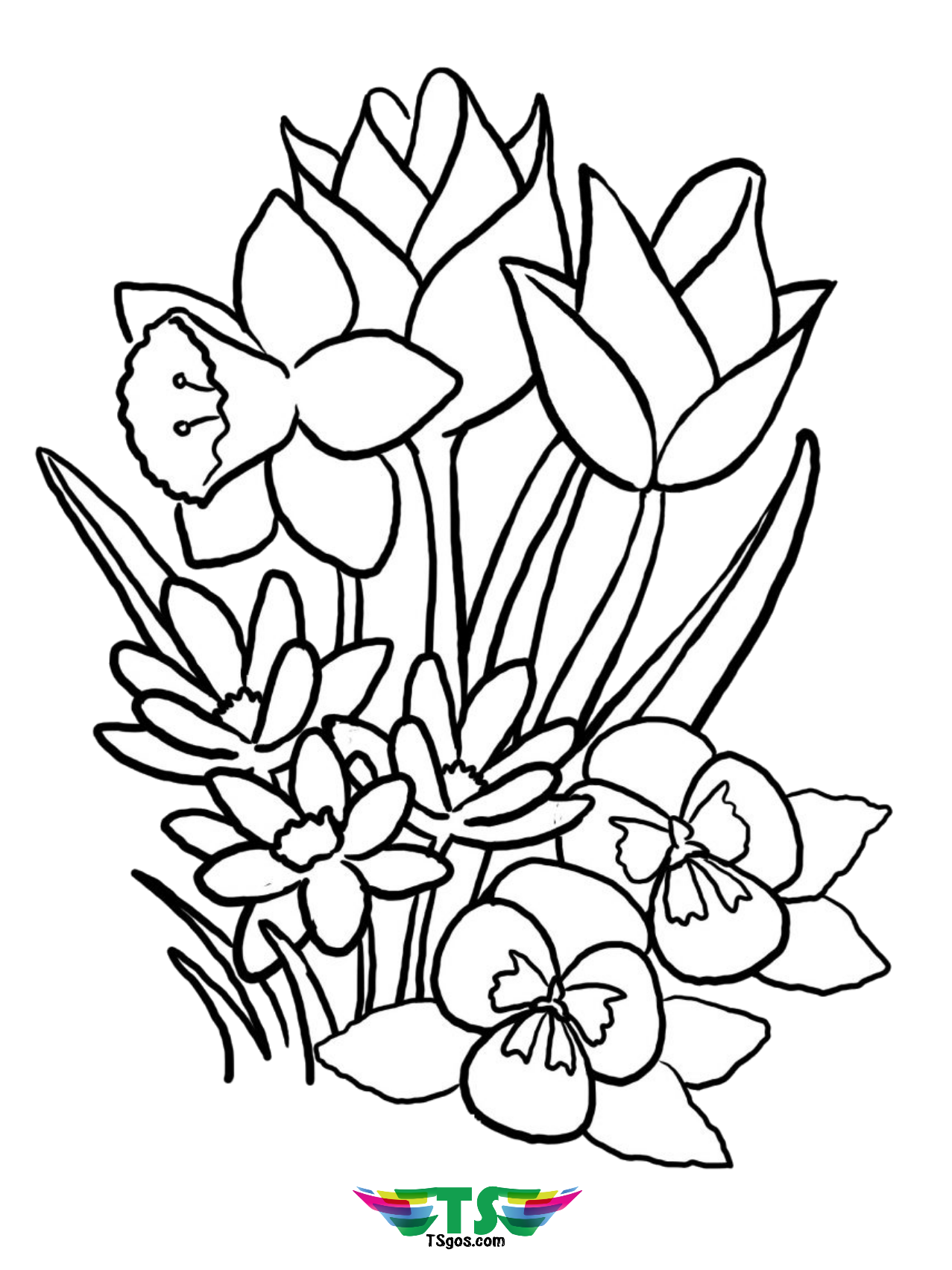 images of flowers to color spring flowers coloring pages printable color images flowers to of