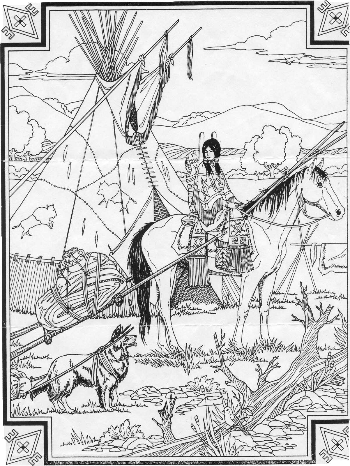 indian coloring page indian native chief profile native american adult coloring page indian