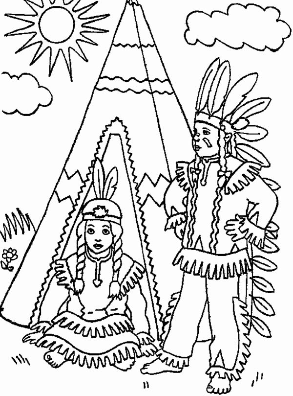indian coloring page two native american in front of teepee on native american coloring indian page