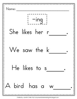 ing pages word family ing phonics practice printables word family ing pages
