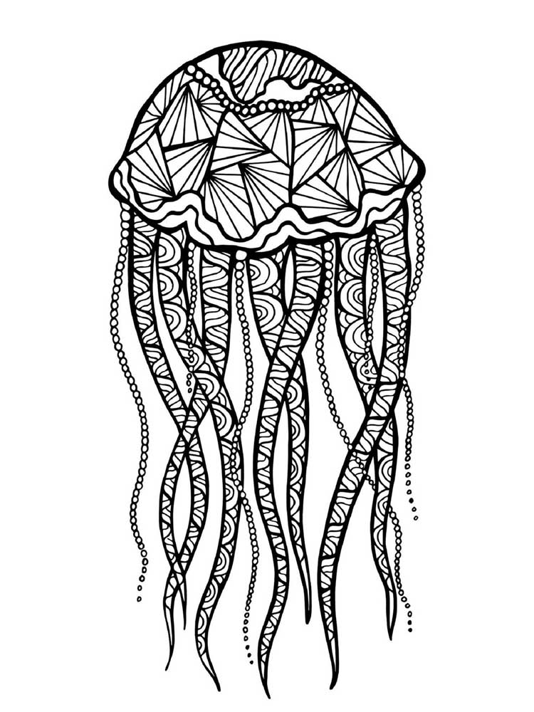 jellyfish zentangle free jellyfish coloring pages for adults printable to zentangle jellyfish