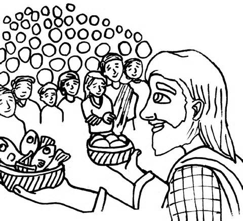 jesus feeds 5000 coloring page coloring page of jesus feeding the 5000 jesus feeds 5000 coloring 5000 feeds page jesus