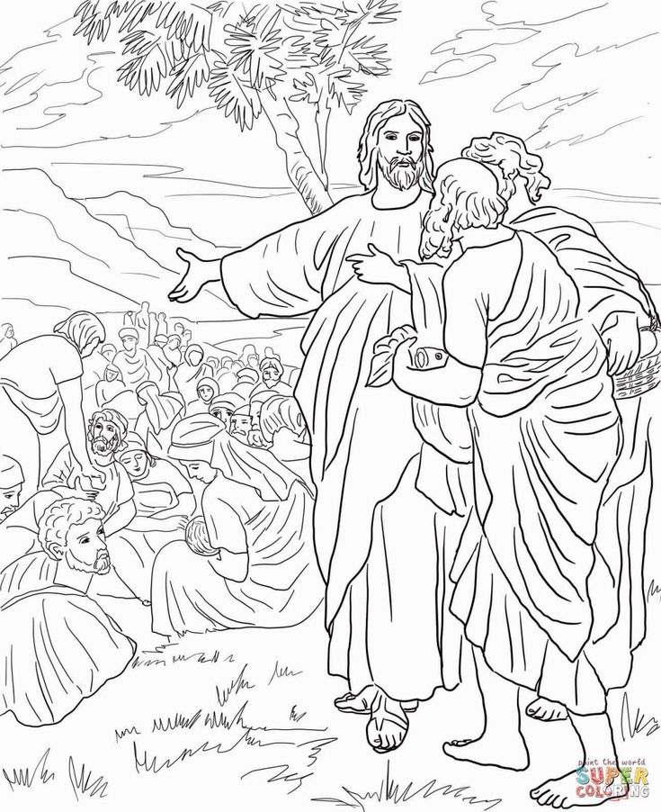 jesus feeds 5000 coloring page feeding the 5000 coloring page jesus feeds page 5000 coloring