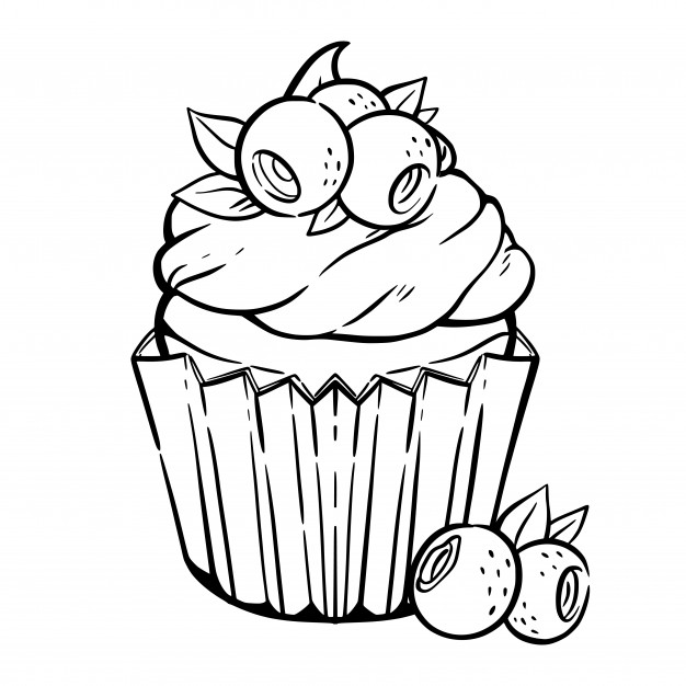 kawaii cupcake coloring pages coloring page with cute cupcake cream blueberry leaves coloring kawaii pages cupcake
