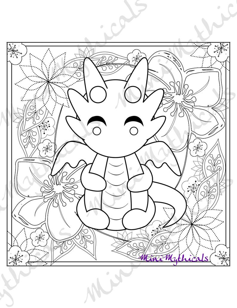 kawaii cute dragon coloring pages simple seamless pattern black and white cute kawaii hand coloring pages dragon cute kawaii