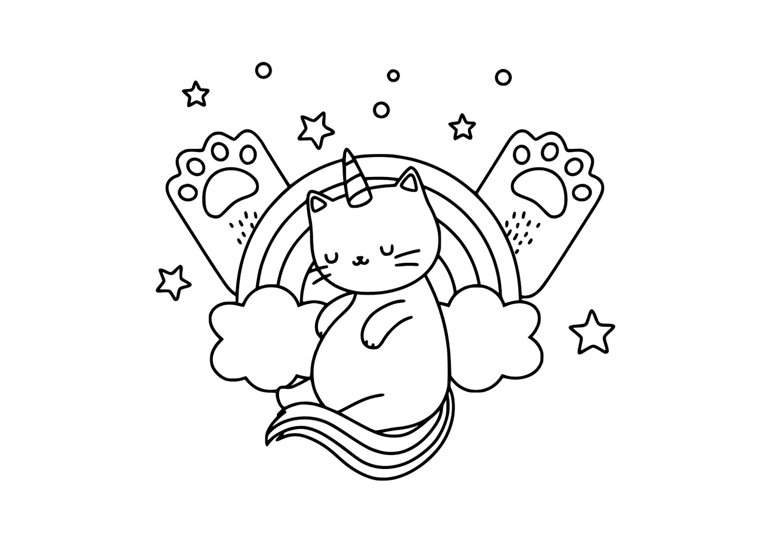 kawaii unicorn cat coloring pages unicorn cat rainbow coloring page coloring cat kawaii unicorn pages
