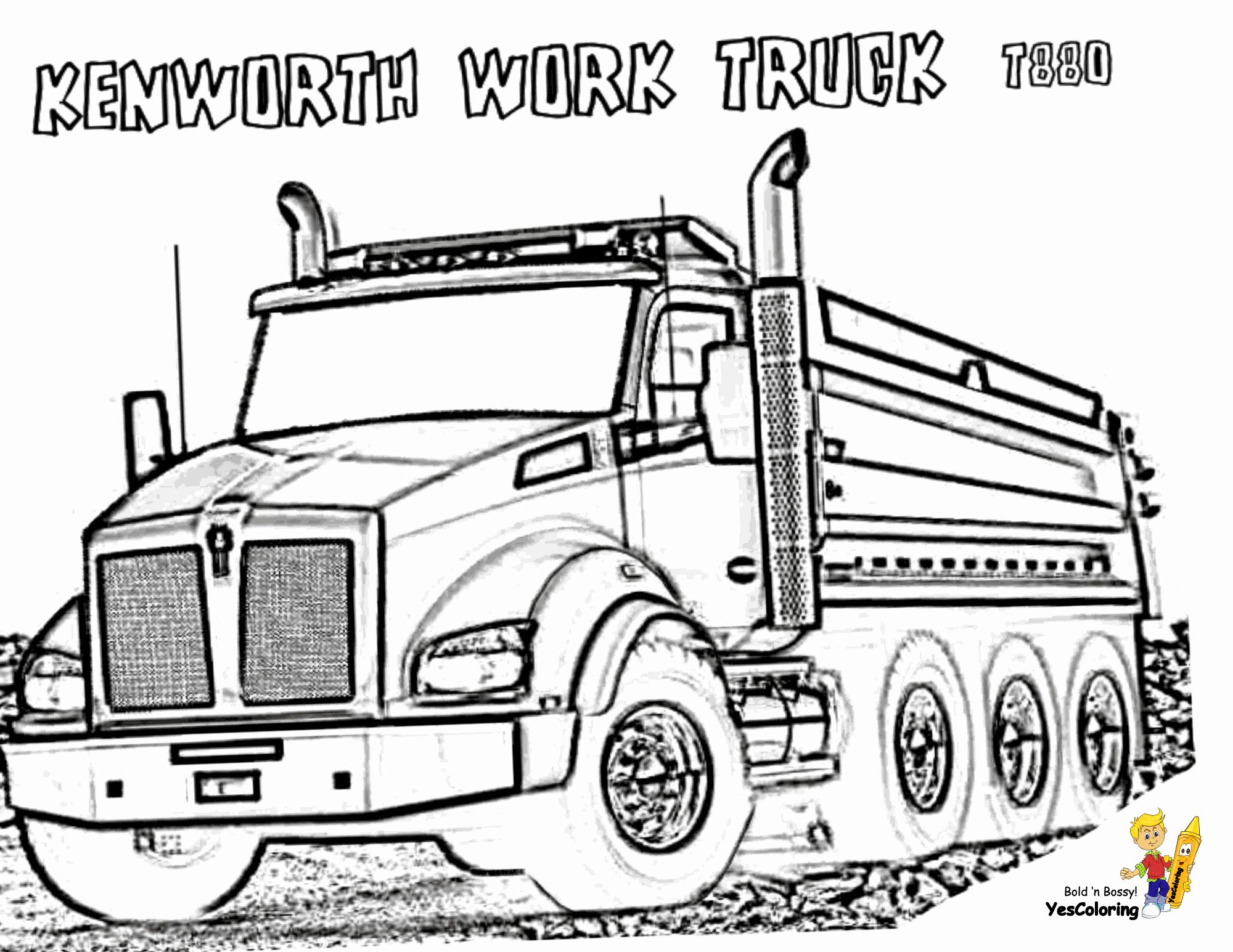 kenworth truck coloring pages svg eps png pdf dxf and jpg instant download pages truck kenworth coloring