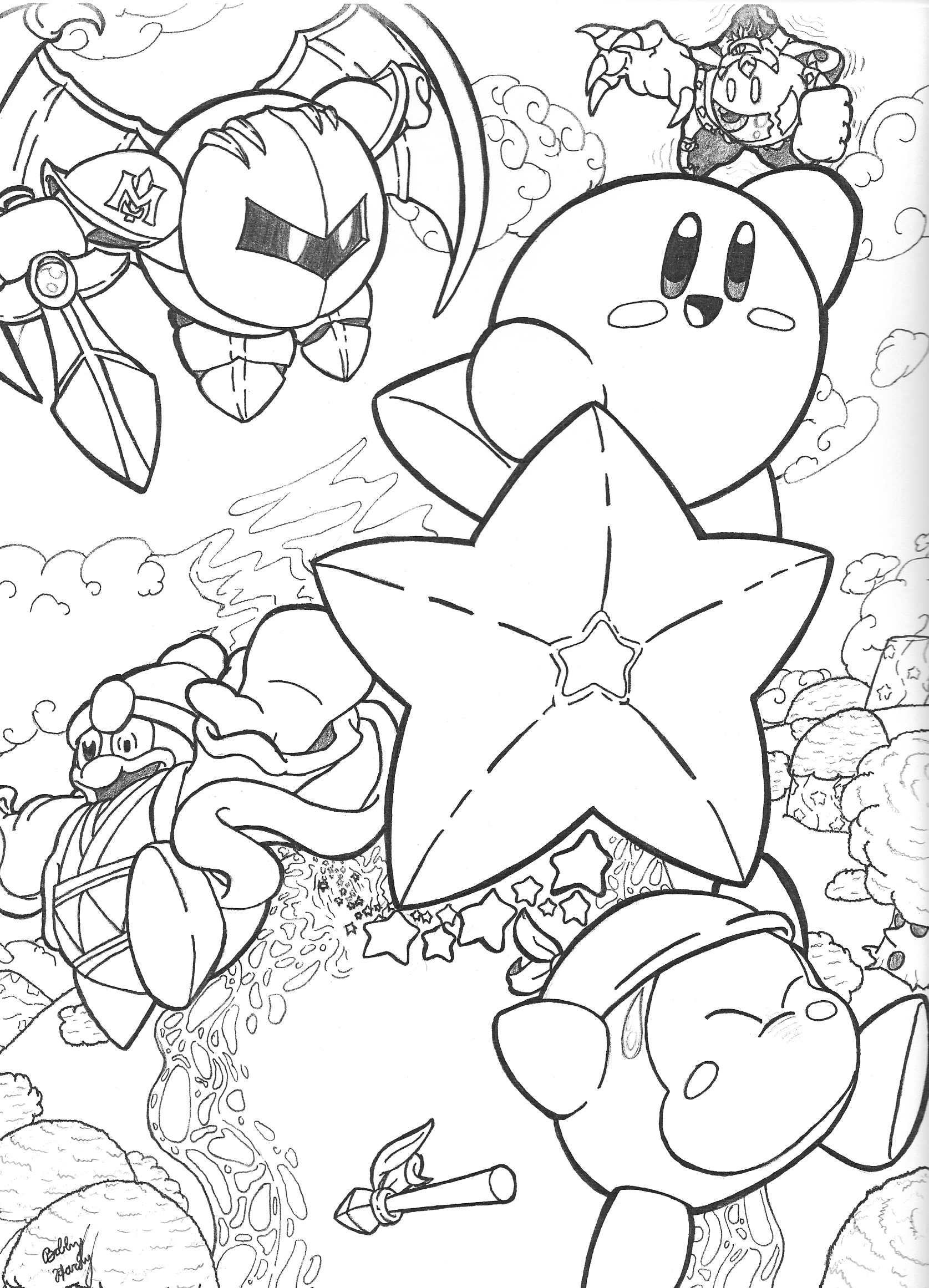 kirby star allies coloring pages free kirby coloring pages meta knight download free clip kirby star coloring allies pages