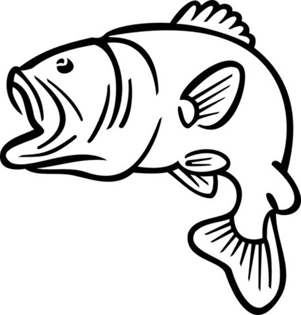 largemouth bass outline bass fishing drawing at getdrawings free download largemouth outline bass