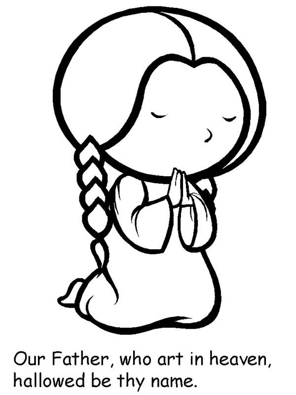 little girl praying coloring page cartoon of little girl lords prayer coloring page praying girl page little coloring