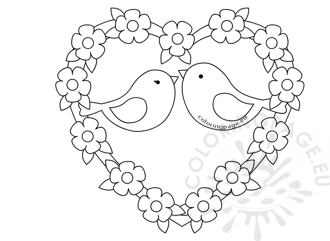 love birds coloring pages two birds sketch with love heart coloring page pages birds coloring love